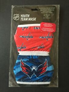 Washington Capitals YOUTH SIZE Licensed 2 Pack Face Mask Covering - 50% Off SRP!