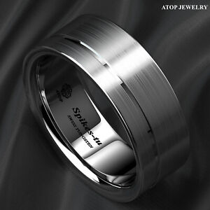 Silver Brushed Tungsten Ring Off Center Grooved Mens Wedding Bands ATOP Jeswelry