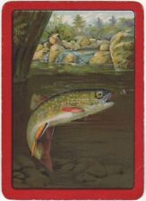 Playing Cards 1 Single Swap Card Old Antique Wide SALMON TROUT FLY FISHING Fish