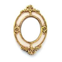 Dolls House Victorian Oval Mirror in Ornate Gold Frame Miniature Wall Accessory