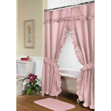 Carnation Home Fashions Lauren Double Swag Shower Curtain, Rose Fscd-L/28 New