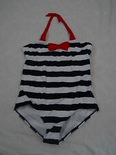 Lands End 1 Piece Swimsuit Size 12 Plus Deep Sea Blue and White Striped Girls