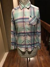 ABERCROMBIE KIDS GIRLS PLAID FLANNEL SHIRT LONG SLEEVES BUTTON UP TOP SZ. 13/14