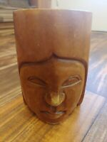 """Vintage Wood Face Hand Carved Tribal Head Monkey Pod 5"""" Mug Cups Philippines"""