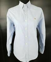 Ralph Lauren Womens Casual Shirt 8  Long Sleeve Blue Regular Fit  Cotton