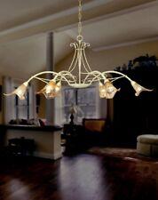 Lampadario 6 luci in ferro battuto colore avorio antico coll. Dese 2040-6