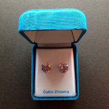 Silver Tone 9ct Pink Cubic Zirconia Stud Earrings - NEW