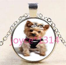 Yorkshire Terrier Cabochon Tibetan silver Glass Chain Pendant Necklace #6177