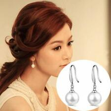 Eardrop Silver Plated Women Ear Studs Dangle 10mm Natural Pearls Hook Earring