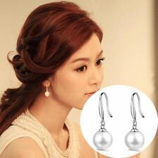 Eardrop Silver Plated Women Ear Studs Dangle 10MM Natural Pearls Hook Earring