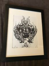 Gothic DEMON Sexy Fantasy Original Drawing Art Framed PRINT on Paper 8x10 SIGNED