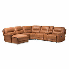 BROWN COGNAC PALOMINO SUEDE LARGE SECTIONAL SOFA RECLINERS THEATER LOUNGE SUITE
