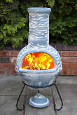 Mexican Clay Chimenea Blue Chiminea Patio Heater Fire Bowl Barbeque Stove Wave