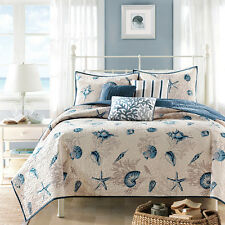 BLUE SEASHELL 6pc King QUILT SET : BEACH HOUSE TROPICAL SHELLS BAYSIDE COVERLET