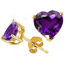 1.00 - 3.00 CT 14K YELLOW GOLD PLATED OVER SILVER HEART AMETHYST STUD EARRINGS