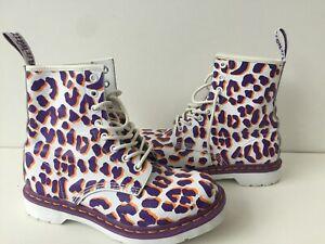Women's Leopard Print Leather Dr Martens Boots Uk6 EU39 Lightly Worn
