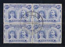 1910 Rhodesia Royal heads SG 131/3 fu block 4 P 14, 13 Sep 1913 rare multiple