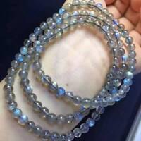 Natural Ice Labradorite Rainbow Light 108 Prayer Beads Bracelet 6mm AAA