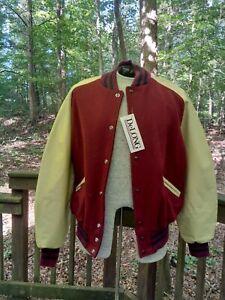 "NWT NOS Delong Blank Varsity Letterman Jacket, Medium, 38"" - 40"", Burgundy/Cream"