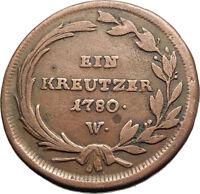 1780 AUSTRIA w Queen Maria Theresa Genuine Antique Kreuzer Austrian Coin i74573