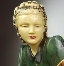 1920/1930 MENNEVILLE GRD STATUE SCULPTURE CHRYSELEPHANTINE ART DECO FEMME CHEVRE