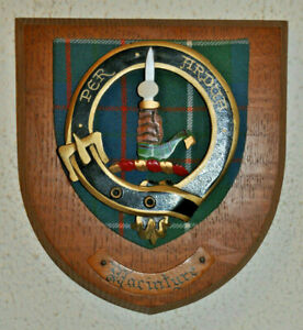 Clan MacIntyre wall plaque shield crest scottish Scotland tartan