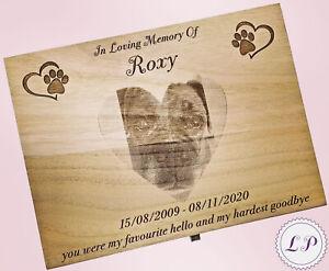 Wood Pet Memorial Ashes PhotoCasket Memory Box Personalised Keepsake Dog Cat Urn