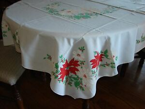 Christmas Tablecloth 50x70 Rectangle Poinsettia design