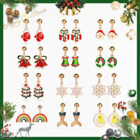 Christmas Fashion Crystal Earrings Enamel Drop Dangle Ear Stud Women Ear Jewelry