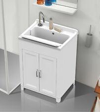 Mobile lavatoio,cm.60x50x85, in kit, 2 ante,vasca e asse lavapanni,resina bianco
