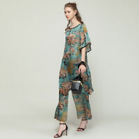 2PC Plus size Womens Casual suits loose print silk Elegant  tops and pants