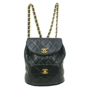 CHANEL DUMA Quilted Chain Backpack Bag Purse Black Leather 83604