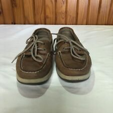 Sperry Top Slider Women Size 6M Leather Boat Shoes Leather Canvas Lace Up Tie