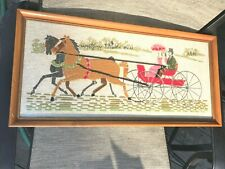 """Vintage 21"""" x 10"""" Needlepoint Horse Carriage man woman Amish Finished Picture"""