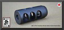 Muzzle Brake Stainless Steel 3 Port 1/2 x 28 Matte Black
