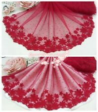"9""*1Y Embroidered Floral Tulle Lace Trim~Crimson Red+Red~Sweet Memory~Charming~"
