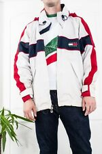 90`s VTG RARE MENS TOMMY HILFIGER BIG LOGO JACKET HOODED ZIP BOMBER COAT SIZE L