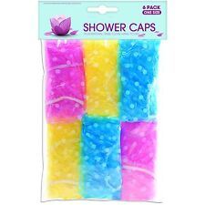 6 x Elastic Shower Caps One Size Fits Hair Care Travel Hang To Dry Bathroom Wet