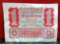 Very Nice and Bright 1922 Austria Eine Krone Banknote! Post-World War I!
