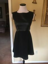 French Connection Womens 8 S Black Faux Leather A Line Party Mini Skater Dress N
