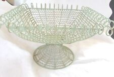 "Green Wire Pedestal Fruit Vegetable Basket 12"" x 12"" x 8"