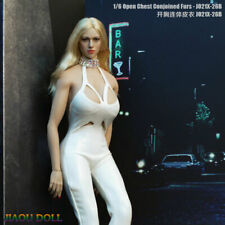 1:6 JO21X-26B Female White Open Chest Leather Coverall Clothes Fit 12'' Figure