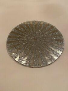 Silver Glitter Mirror Plate