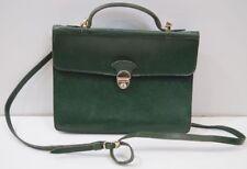SMYTHSON Vintage Emerald Green Leather Gold Tone Detail Medium Size Satchel Bag