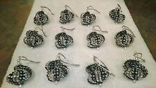12 HANDMADE CHRISTMAS ORNAMENTS MADE WITH BLING BLACK AND SILVER