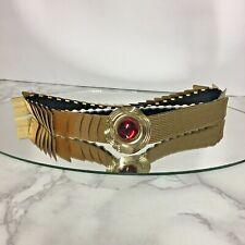 "Vintage 1"" Gold Tone Stretch Belt Red Jewel 22.5"" Unstretched"