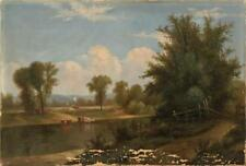 AMERICAN SCHOOL, 19th Century, Landscape with cattle in a stream and ... Lot 548
