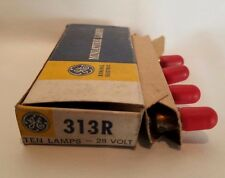 Box of 4 General Electric GE 313R GE313R 28V Red Miniature Lamps Light Bulbs