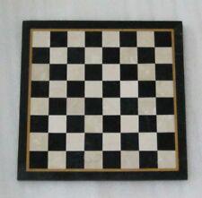"18"" black Marble chess table semi precious stones inlay art handmade"