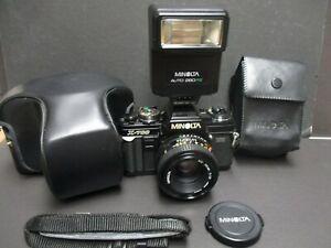 Minolta X-700 camera 35mm & 50mm 1.7 lens & Minolta 280PX flash & case mint